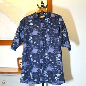 Retreat Mens 100% cotton blue Hawaiian shirt large
